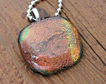 Necklace  - Dichroic Rainbow Fused Glass Pendant