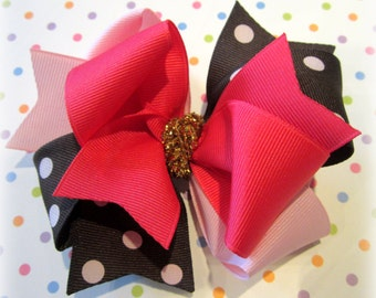 Star of the Show M2M m2mg Hair Bow for Gymboree Girls Triple Layers and Loops Hairbow Pink Brown Dots Gold Glitter Sparkle