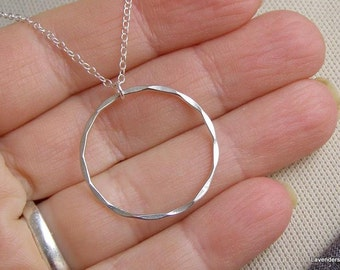 Silver  Circle Necklace , Large Eternal Necklace , Sterling Silver Necklace , Modern Minimalist Jewelry , Karma Jewelry