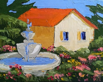 MISSION GARDEN Fountain Impressionist Oil Painting California Plein Air 11x14 Lynne French