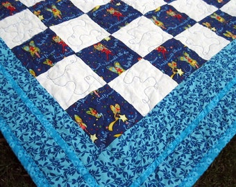 Baby Quilt, Blue and White Baby Boy Quilt, Nursery Rhymes Crib Quilt, Wish Upon a Star Quilted Blanket, Blue Baby Quilt, Baby Bedding