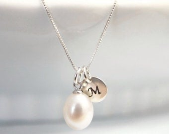 Custom Initial Freshwater Pearl Necklace, Casual Necklace, Wedding Necklace Bridesmaid Necklace White Freshwater Pearl Necklace Gift for Her