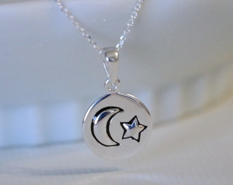 Star and Moon Necklace, Sterling Silver Star and Moon Necklace, Love You to the Moon and Back Girlfriend Gift Gift for Daughter Gift for Her