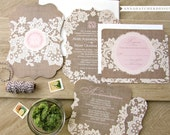 SAMPLE: Burlap & Lace 3 Piece Ornate Die Cut Wedding Suite / Invitation, Reply, Enclosure Card / Paper Pack / Color Chart - FREE Shipping