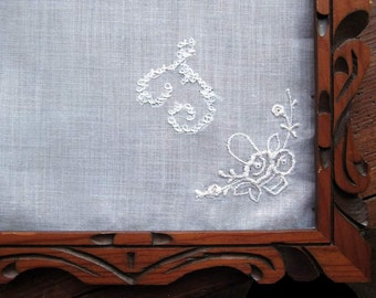 "Bridal   White Linen Hanky/Handkerchief  Embroidered ""T""  Monogram  White  . Embroidered Corner"