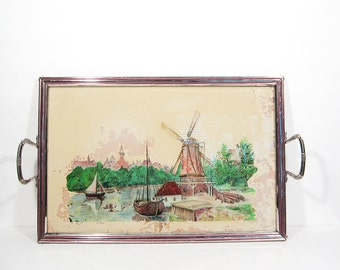 Vintage Glass Chrome Metal Tray Shabby Chic Landscape