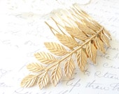 Golden Raw Brass Leaf Branch Hair Comb - Golden Leaf - Woodland Collection - Whimsical - Nature - Bridal
