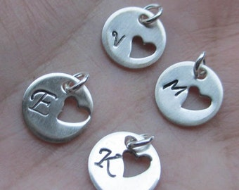 Sterling Silver initial tag with heart cut out(One initial tag)10mm or 12mm size