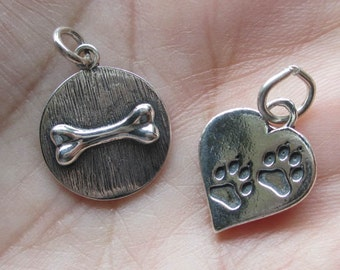 Sterling Silver Paw Print Heart, or Dog Bone Pendant(one)You choose which one