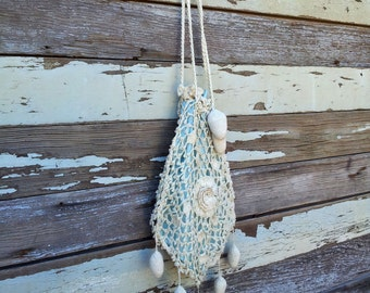 Antique Victorian Cream Crochet Drawstring Reticule Purse w Ball Tassels