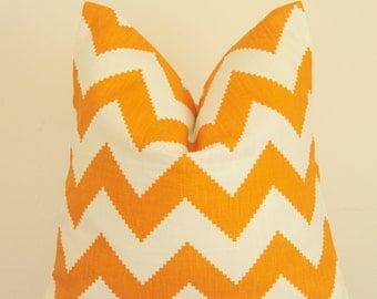 Kravet, Orange Pillow, Orange Zigzag, Chevron, Decorative Pillow, Throw Pillow, Toss Pillow, Orange Geometric, Home Decor, Home Furnishing