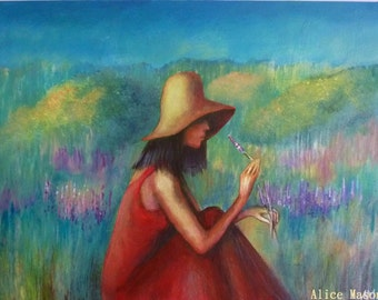 Gill in the Lavender Fields.  Large Giclee print.