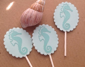 Seahorse Cupcake Toppers - Set of 12