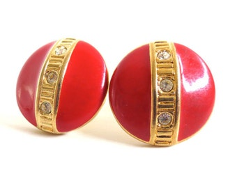 Vintage 80's Avon // Red Enamel Rhinestone Round Clip on Earrings