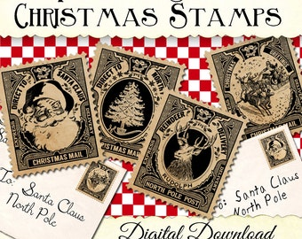 Christmas Stamps for Labels Tags Digital Download Printable DIY Vintage Style Clip Art Images Collage Sheet