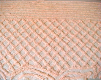 Plush Peach Vintage Chenille Bedspread Fabric 18 x 29 Inches