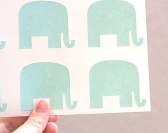 36 Mint Green Mr. Elephant Stickers - Peel and Stick Tags