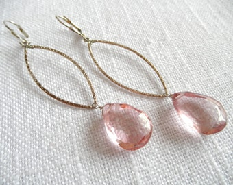 Mystic pink quartz earrings - silver earrings - pink earrings -  L A U R E N 281