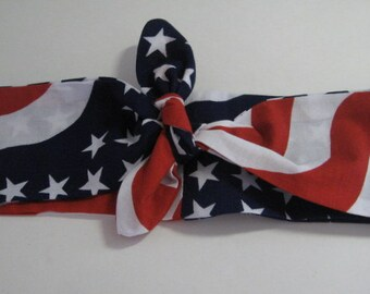 Team USA, American Flag Bandana, Olympics Head Bandana, Knotted Hairband, PinUp Hair Band, USA Hair Band,RockaBilly HairBand, Teens Women