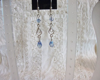 Sapphire Swarovski crystal and sterling silver earrings