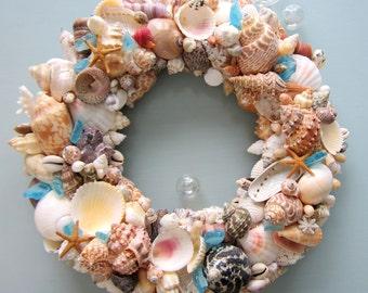 Nautical Decor Seashell Wreath, Beach Decor Shell Wreath, Coastal Wreath, Beach Home Decor, Coastal Home Decor, WITH SEAGLASS #CSWSG