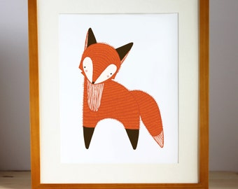 Fox Art Print, Little Fox Illustration, Fox Wall Art, Orange Fox Print, Fox Nursery Art, Fox Children's Decor, Fox Illustration