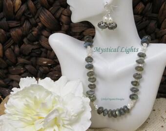 Mystical Lights necklace set-classic,elegant,glowing,high grade labradorite