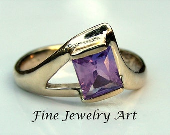 Purple Sapphire Unique Handmade 14k Gold Ring - Whale's Tail Theme Original Ring Design- 1 Ct Natural Sapphire Engagement - Right Hand  Ring