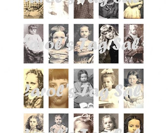 """1"""" x 2"""" Domino Pendant Vintage Victorian Gothic Girls Collage Sheet Printable Download Images Digital Graphics 1x300dpi Collage Sheet File"""