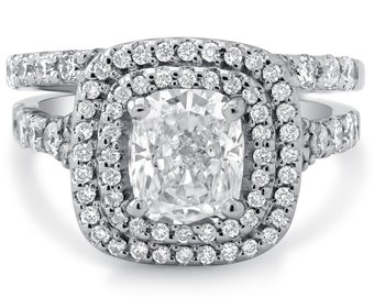 Cushion cut double halo diamond engagement ring and band wedding set C20S