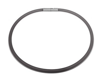 Gray Rubber Necklace 5mm Rubber 6mm Clasp
