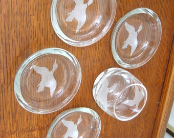 Vintage Glass Coasters Flying Duck Geese Etched Matching Shot Glass