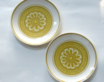Vintage Dinner Plates Casablanca Dinnerware Royal China Porcelain Yellow Flower 1970s Set of Two