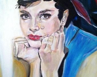 Audrey Pop art portrait oil and acrylic