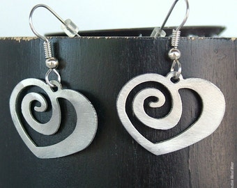 Heart Earrings / Eternal Love Earrings / Stainless Steel / Valentine's Day Earrings / Spiral Heart / Gifts for Her / Girlfriend Jewelry