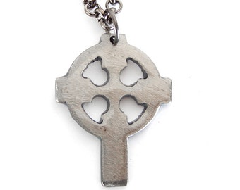 Celtic Cross Charm on Gunmetal Chain / WATTO Distinctive Metal Wear / Celtic Cross Necklace / Irish / Celtic / Irish Cross Necklac
