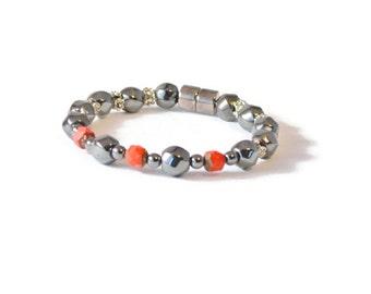 Red/Black Magnetic Hematite Therapeutic Bracelet for Arthritis Pain