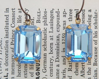 rhinestone dangle earrings blue jewels Swarovski shabby chic fresh