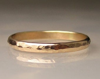 Women's Gold Wedding Band, 2mm recycled 10k Yellow Gold Ring, Eco Friendly Band, Ladies Hammered Gold Band