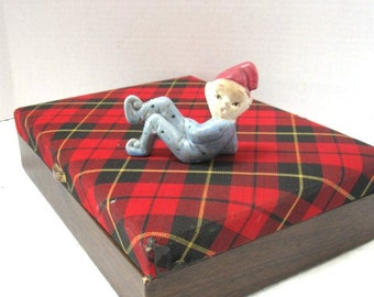 REDUCED Vintage Jewelry Box, Buxton Red Tartan Plaid w/ Velvet Lining, Mad for Plaid, Scottish Highlands, Wood Look Sides