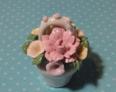 Vintage Miniature Porcelain Basket with Flowers.