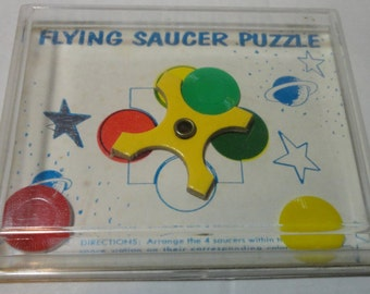 1960's Plastic and Cardboard Flying Saucer Derxterity Puzzle