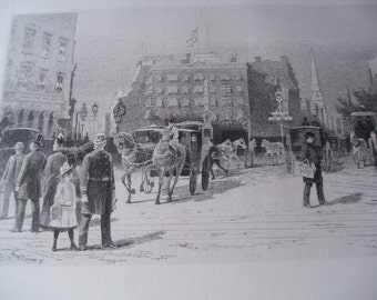 1887 Frank M Gregory Madison Square New York City Original Etching, Listed Artist, Engraving Stokes