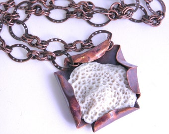 Hammered copper necklace, fire painted, fold formed, beach found coral, nautical, statement, nature, organic, copper chain, toggle clasp