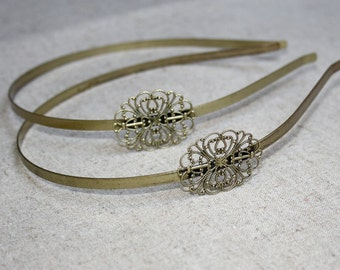 4 pcs Antique Bronze Headband Hair Band with filigree