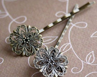 free shipping in UK - 10 pcs Antique Bronze Hairgrip Hair slide with filigree pad