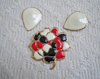 Vintage Jewelry Set Brooch and Earrings Costume Jewelry Enamel Set