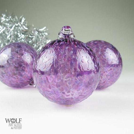 Blown Glass Holiday Ornament Pink Amethyst Purple Ice Glass Bulb Ornament