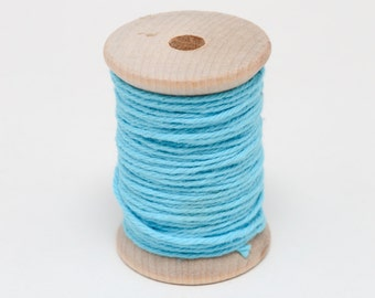 Baker's Twine - 20 Yards - Aqua - Bright Blue - 4 Ply Twine on Wooden Spool