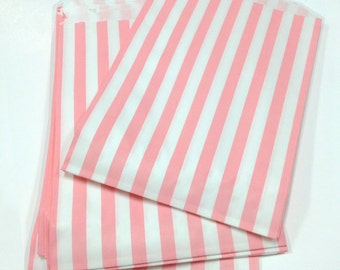 Set of 50 - Traditional Sweet Shop Shell Pink Candy Stripe Paper Bags - 5 x 7